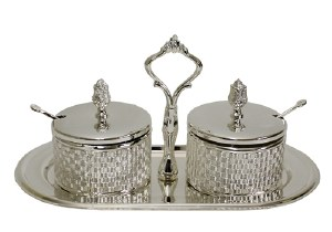 Decorative Relish Dishes Silver Plated with Glass Inserts Spoons and Tray