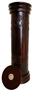 """Antique Leather Megillah Holder Round Wood Base and Cover Brown 16"""""""