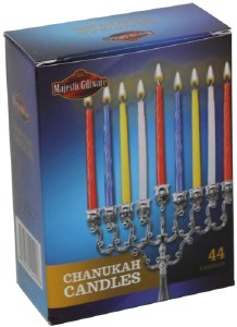 Chanukah Candles Colorful 44 Count 4""