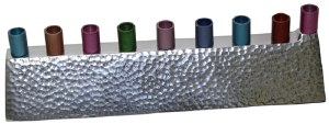 """Candle Menorah Aluminum Hammered Design with Nickel Plated Finish and Colorful Cups 2.5"""""""
