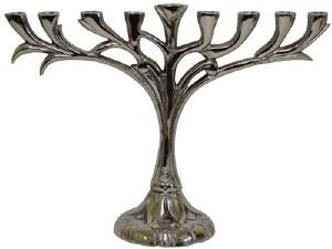 """Menorah Aluminum Nickel Plated Vine Design 8"""""""