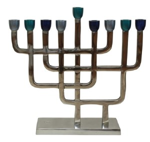 """Candle Menorah Aluminum with Nickel Plated Finish and Blue Cups 8.75"""""""