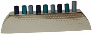 """Candle Menorah Aluminum Hammered Design with Nickel Plated Finish and Blue Cups 3"""""""