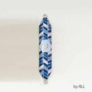 "Enamel Mezuzah Blue with Geometric Designs 4"""