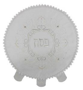 "Round Satin Matzah Cover Embroidered Swirl Design White 19"""