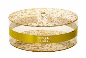 "Lucite Round Matzah Holder Gold Flakes Design 13.5"""