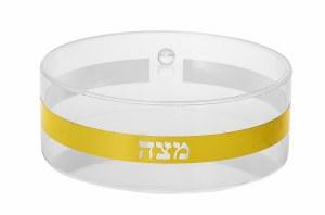 """Lucite Round Matzah Holder Clear with Gold Stripe 13.5"""""""