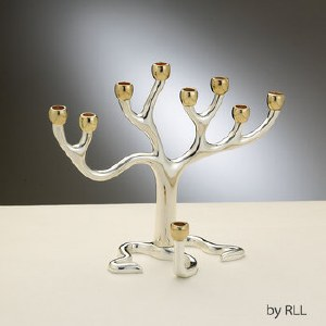"""Tree of Life"" Candle Menorah - Medium, Silver Plated with Gold-Tone Cups"