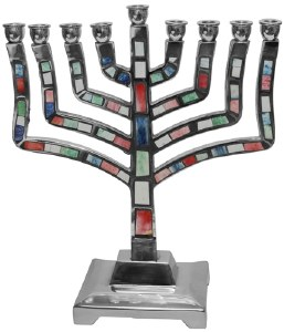 Candle Menorah Aluminum Multi Color