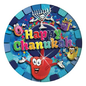 """Happy Chanukah"" Themed 9"" Paper Plates 10 Pack"