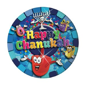 """Happy Chanukah"" Themed 7"" Paper Plates 10 Pack"