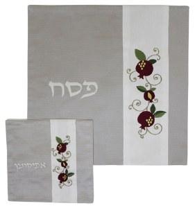 Matzah Cover and Afikomen Bag Grey and White Set Pomegranate Design