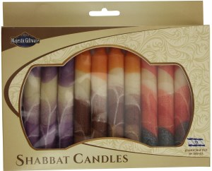 Safed Shabbat Candle 12 Pack Cream Mix