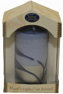 """Safed Pillar Candle Blue and Silver Assorted Design Large 3"""" x 6"""""""