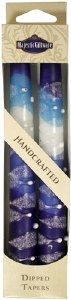 "Safed Taper Candles 2 Pack 7.5"" - Snow Drops Blue"