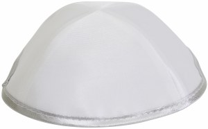 Kippah White Satin with Silver Trim One Size Fits All