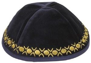 Kippah Navy Velvet with Gold Embroidered Trim