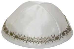 Kippah White Satin with Silver Embroidered Trim