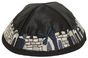Kippah Black Satin with Full Embroidered Multi Colored Jerusalem Design Trim