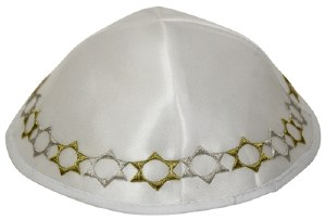 Kippah White Satin with Embroidered Gold and Silver Stars of David Trim