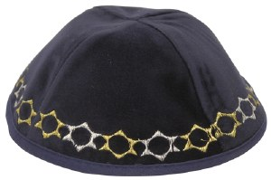 Kippah Navy Velvet with Embroidered Gold and Silver Stars of David Trim