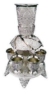 Kiddush Fountain Silver Plated Filigree Design Includes 6 Cups