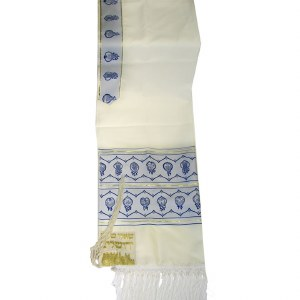 """Tallis Set Twelve Tribes of Israel Size 18 Blue and Gold Wool Blend with Bag 18"""" x 72"""""""