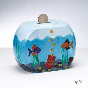 Goldfish Bowl Ceramic Tzedakah Box
