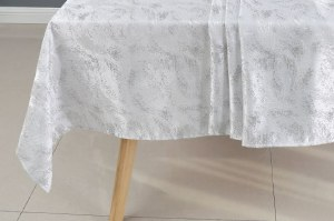 """Jacquard Tablecloth White and Silver Shimmer Brushstroke Pattern 70"""" x 108"""""""