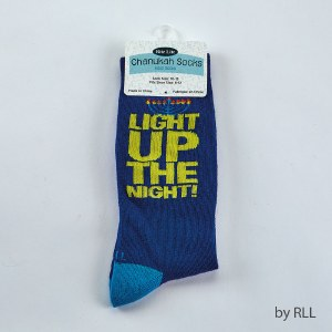 "Chanukah Crew Socks ""Light Up The Night"" Adults Size 10-13"