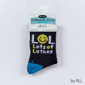 Chanukah Crew Socks LOL Lots Of Latkes Kids Shoe Size 1-5