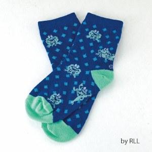 Passover Kids Crew Socks Blue and Green Frog Design