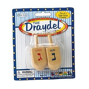 """The Draydel Game"" - 2 Large Natural Wood Draydels"