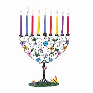 Candle Menorah Hand-Crafted Metal Tree with Colored Flowers