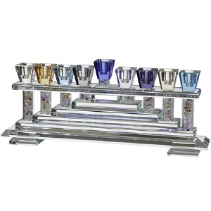 Crystal Candle Menorah Multi Colored Cups on Colorful Crushed Glass Filled Stems Steps Base Design