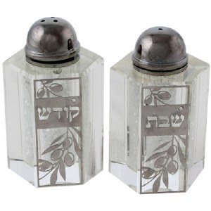 Crystal Salt and Pepper Shaker Set Decorated with Silver Plate