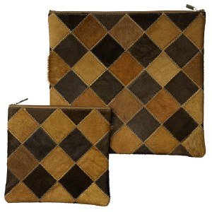 Tallis and Tefillin Bag Set Fur Square Design Brown