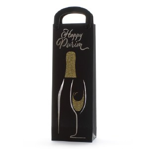 Foiled Purim Wine Gift Bag Black and Gold