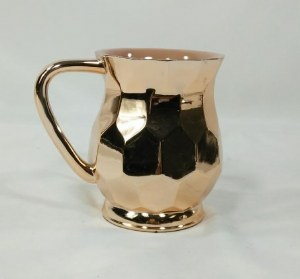 Acrylic Wash Cup with Metal Coating Hexagon Shape Copper Color