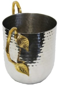 Hammered Wash Cup Stainless Steel With Gold Handles and Leaves