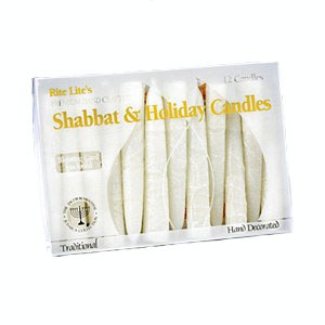 Premium Hand Crafted White Frosted Shabbat Candles - 12 per Box