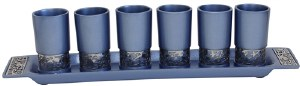 Liquor Set Including 6 Blue Cups and Tray Silver Colored Metal Cutout Design by Yair Emanuel