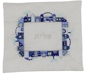 Tallis Bag Blue Embroidered Jerusalem Design on White Background by Yair Emanuel
