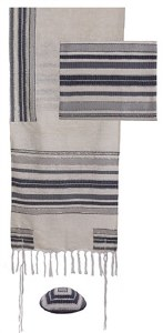 Hand Woven Tallis Grey and White Striped Design by Yair Emanuel
