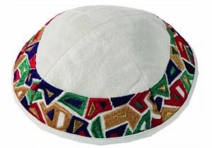 Yair Emanuel Embroidered Kippah - Geometrical Multicolored