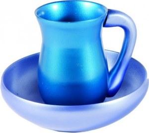 Yair Emanuel Judaica Anodize Aluminum Mayim Achronim Set Turquoise