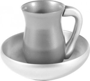 Yair Emanuel Judaica Anodize Aluminum Mayim Achronim Set Silver