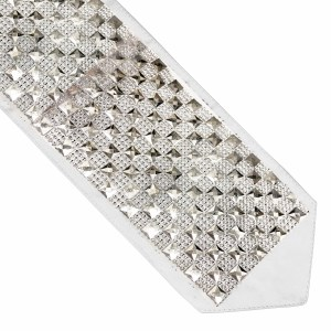 Atara Silver Colored Squares and Rhinestones Checkerboard Design