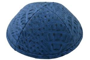 iKippah Light Blue Crocodile Leather Size 4