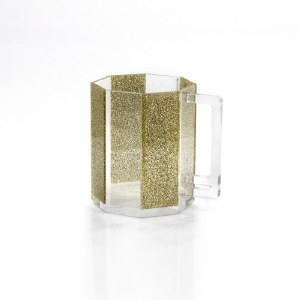 Washing Cup Lucite Hexagon Gold Sparkle Stripes